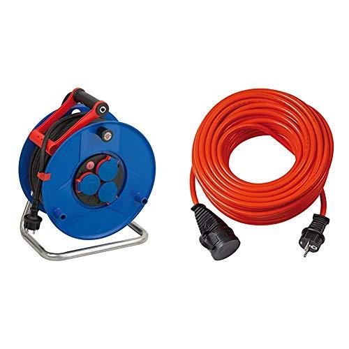 Brennenstuhl Garant IP44 Gewerbe-/Baustellen-Kabeltrommel, 40m - Spezialkunststoff, blau & BREMAXX Verlängerungskabel (25m Kabel in orange, einsetzbar bis -35 °C, öl- und UV-beständig)