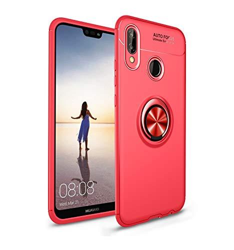 Zouzt pour Huawei P20 Lite Étui de Protection Ultra Mince avec Support de Bague béquille s'applique à l'étui de Protection complète de Support de Voiture magnétique pour Huawei P20 Lite - Rouge