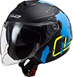 LS2 Twister II Xover - Casco jet para moto, color negro mate, azul, XXL