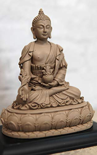 Ebros Akshobhya Bhaiṣajyaguru Medicine Buddha of Healing and Purity Meditating Figurine in Ivory Clay Finish for Home Altar Zen Decoration Eastern Enlightenment Amitabha Buddhist Statue Feng Shui