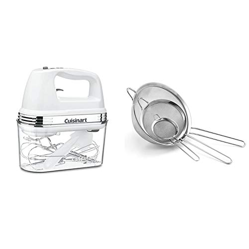 Cuisinart HM-90S Power Advantage Plus 9-Speed Handheld Mixer with Storage Case, White & Set of 3 Fine Mesh Stainless Steel Strainers