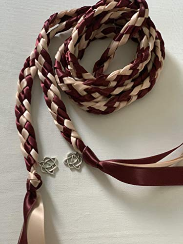 Burgundy and Blush Handfasting Cord with Celtic Heart- Wedding- Ceremony Braid