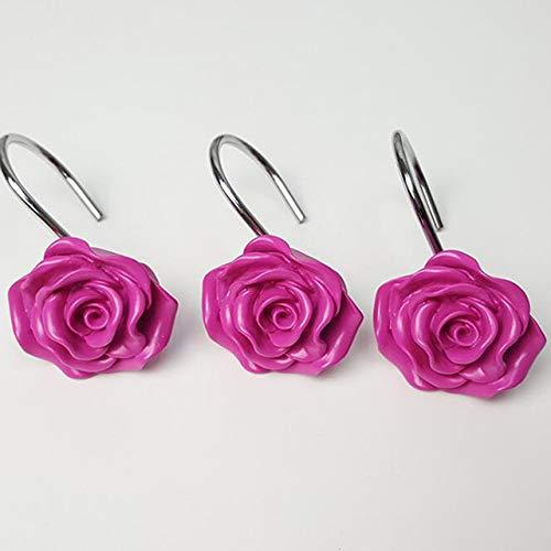 Qingsb 12 Pcs Rose Flower Resin Douchegordijnhaak Handgemaakt Decoratief Douchegordijn Spoorhaken Badkamer Kamer, rose rood