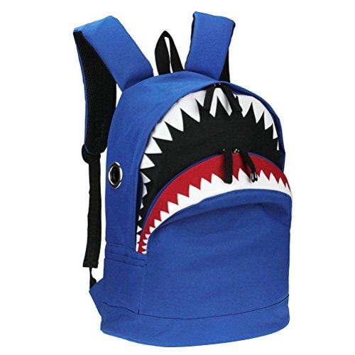 Yimoji zaino in tela per adolescenti, motivo: squalo, per scuola o laptop blu Blue