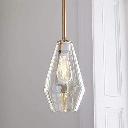 Handgeblazen glazen Drop hanglamp One-Light Indoor Mini Pendant brushed nikkel Verstelbare Champagne goud paal (diameter 6,7 inch), Teacolor, Kleur: Teacolor (Color : Teacolor)