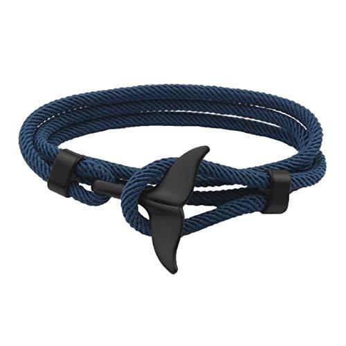Pulsera de cuerda de cola de ballena hecha a mano para playa, surf, joyería de moda unisex