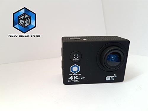 New Geek Pro, Action Camera 4K (16 MP)/Wi-Fi / immersione 30m, schermo LCD 2.0, grandangolo 170° /10m. Telecomando/custodia impermeabile e kit 20accessori.