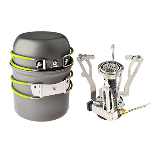 Camp Stove,Petforu Outdoor Camping Stove Cookware Hiking Backpacking Picnic Cookware Cooking Tool Set Pot Pan + Piezo Ignition Canister Stove Propane Canister