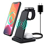 3 in 1 Wireless Charging Station for Apple Watch Series 6 SE 5 4 3 2, Airpods Pro/2, Detachable Wireless Charger Stand for iPhone 12/11 Series/SE/X/XR/XS Max/8 Plus with QC3.0 Adapter, Black