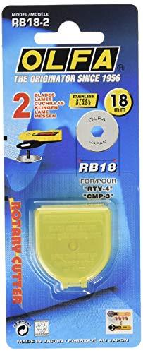 OLFA Rotary Cutter Blade RTY, 18mm Klingen 2xRB18, Silver