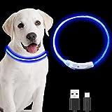 QOCO Collar Perro Led, Collar Led Perro Recargable USB, Collar para Perro con Luz Brillante para Mascotas, Collares para Perros Se Puede Cortar, Collar con Luz para Perros Impermeable(Azul)