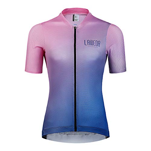 LAMEDA Maillot Ciclismo Mujer Verano Camiseta Ciclista Bicicleta Carretera Jersey Bici Transpirable Secado Rápido Reflectante(Rosa,s)