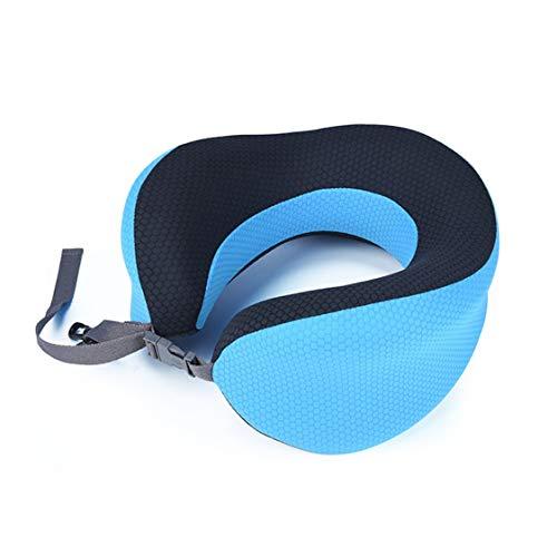 Almohadas para el cuello de espuma viscoelástica en forma de U Espacio de rebote lento Almohada de viaje suave Cuello sólido Ropa de cama para el cuidado de la salud cervical - Azul