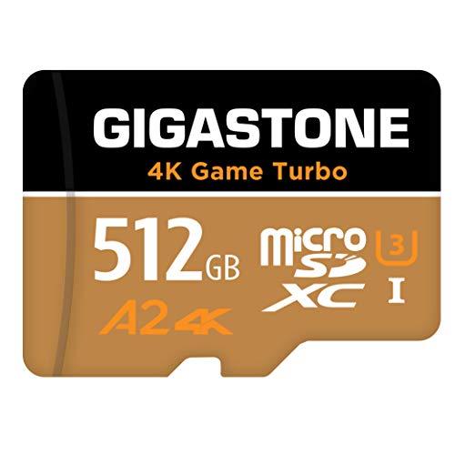 Gigastone 512GB Tarjeta de Memoria Micro SD, Vídeo 4K UHD Game Turbo, Aplicación A2 Run, Compatible con Nintendo Switch, 100MB/80/s Lec/Esc, UHS-I U3 C10,[5 años gratuitos de recuperación de Datos]