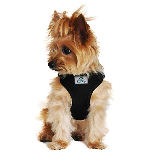 Doggie Design Soft Lightweight Wrap and Snap Choke Free Dog Harness - Black (M)