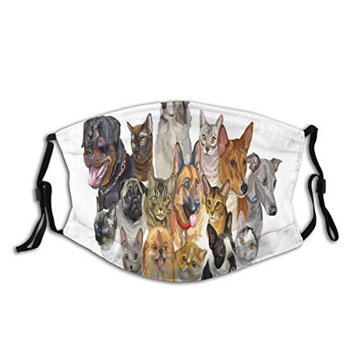 KOSALAER Face Cover Darstellung Gruppe von vibrierenden schattierten Haustieren Katzen und Hunde Australischer Schäferhund Wiederverwendbare Anti-Staub-Mund-Bandanas mit 2 Filtern