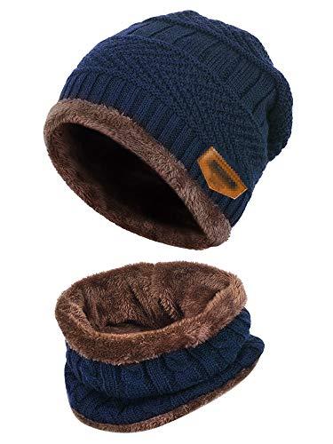 Cappello Uomo Invernali Beanie In Maglia Con Sciarpa, Cappello Sciarpa Uomo, 2 Pezzi Cappello Da Sci All'Aperto E Set Sciarpa Teschio Lavorato A Maglia Con Fodera In Pile (Blu)