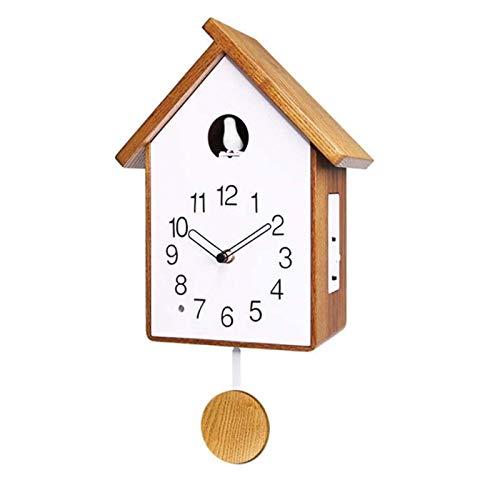 DongSheng Cuckoo Reloj Moderno Simple Simple Design, Reloj de Pared de pájaro de Madera Maciza de la Granja, Sala de Estar de la Familia única Decoración del Arte del jardín, a,B
