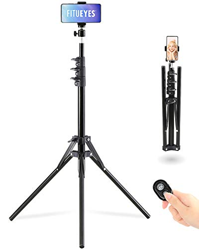 """FITUEYES Phone Tripod Stand Selfie Stick Tripod 60"""" Aluminum Phone with Wireless Remote Shutter Perfect for Live Stream/Vlog, Lightweight"""