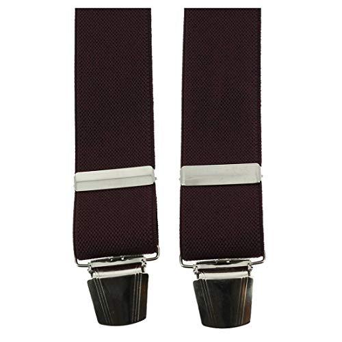 Tony & Paul. Bretelle. 4 clips, Viscose. Rouge, Uni. Fabriqué en Italie.