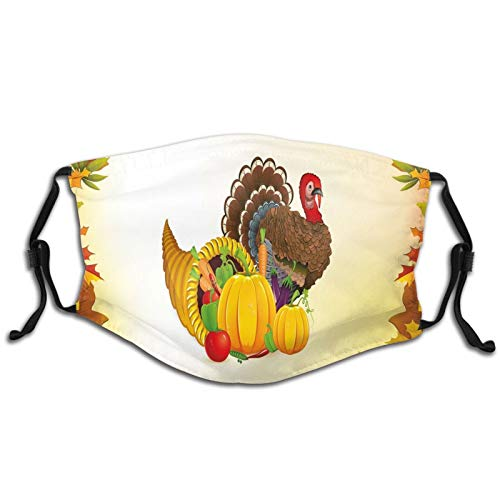 Funny Print Breathable Mouth Masks,Cornucopia And Animal With A Beak Poultry Pattern Fall Season Fruits Autumn Leaves Hip Hop Dust Face Mask, Washable And Reusable Windproof Cartoon Animal Masks