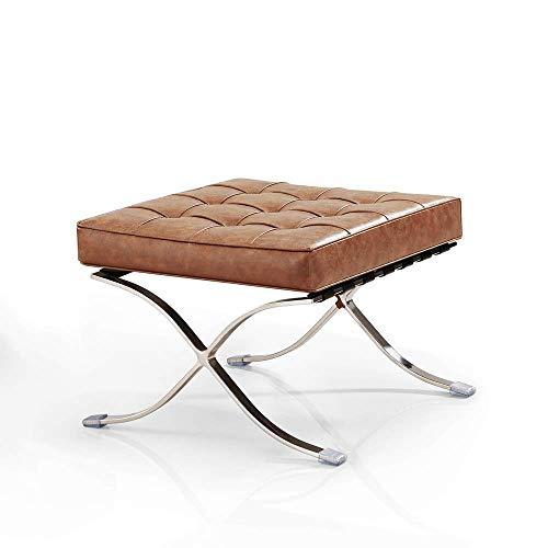Vivol Barcelona Sessel Stuhl Cognac Ottoman - Moderner Klassiker Retro Sessel - Design und Qualität erhältlich