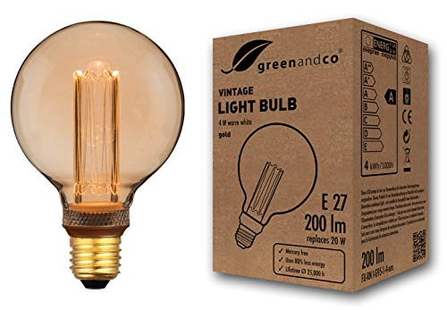 Bombilla LED greenandco® decorativa estilo vintage antiguo Edison E27 G95 4W 200lm 1800K (blanco extra cálido) 320° 230V vidrio, sin parpadeo, no regulable