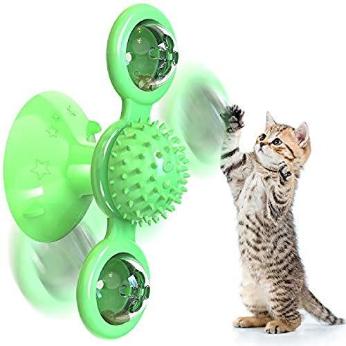 U-N 2PCS/Set Cat Toy Interactive Cat Toys for Indoor Cats Chew Turntable Teasing Cat Hair Brush Massage Scratching Best Spinning Catnip Toys Cat Toothbrush Funny Kitten Toys with Suction Cup Green