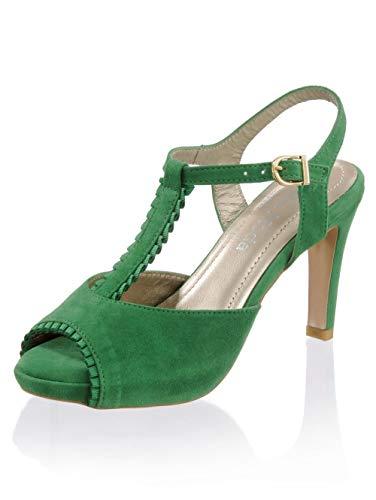 Alba Moda Sandalette aus weichem Ziegenveloursleder Grün