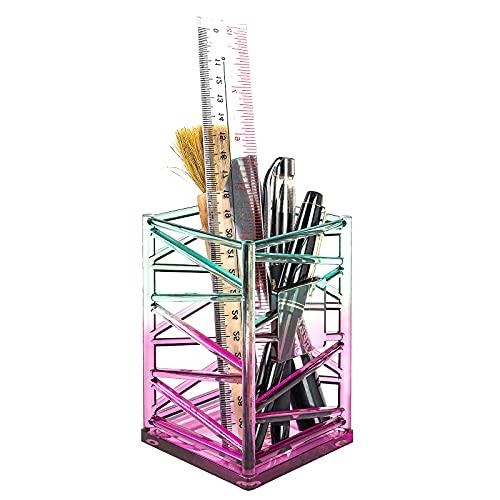 Portalápices Acrílico Color,Organizador de Escritorio,Soporte Para Brochas de Maquillaje,Adecuado para almacenamiento de oficina/Escuela/Hogar/Regalos para profes (Gradiente de dos colores)