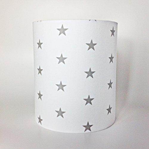 Blanc avec Gris étoiles Tissu léger ou Abat-jour Medium 18 CMD X 21 cm (H)