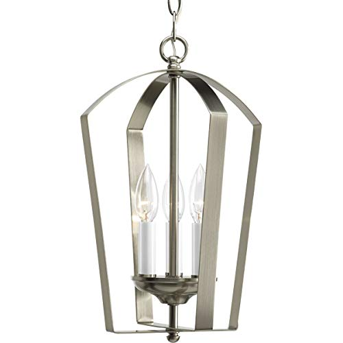 Progress Lighting P3928-09 Gather Collection 3-Light Foyer Pendant, Brushed Nickel