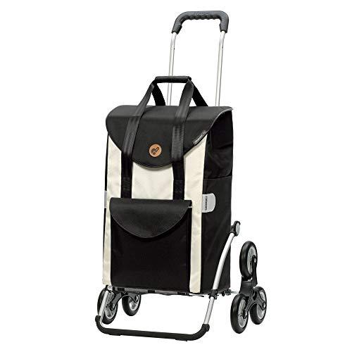 Andersen Einkaufstrolley Royal Treppensteiger und Einkaufstasche Senta weiß 49 Liter