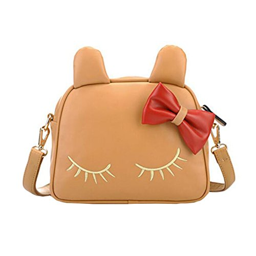 Sac à main sac à bandoulière unique sac ami cadeau d'anniversaire loisirs Cute bowknot chat style sac, kaki