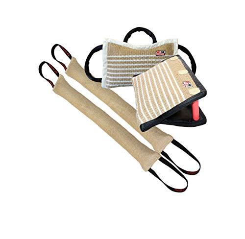 "Bundle - 1 - 3 Handle Firm Jute Bite Pillow, 1 - 3 Handle Jute Bite Wedge, 2 - 4"" X 24"" 2 Handle Jute Tug Toy - Redline K9"