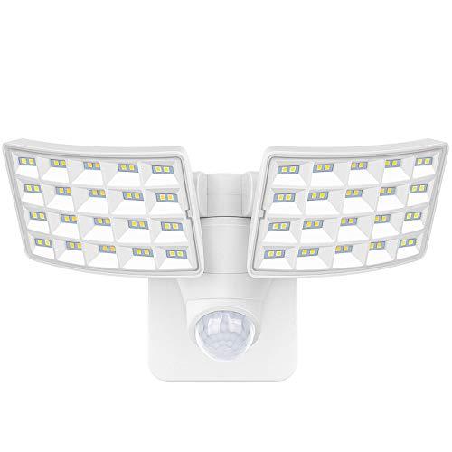 LUOWAN 20W LED Sicherheitsleuchten, Bewegungssensorleuchte im Freien, 2400LM, 5500K, IP65 wasserdicht, 2-Kopf-Bewegungs-LED-Flutlicht für Garage, Hof, Eingänge (Nicht-Solar)