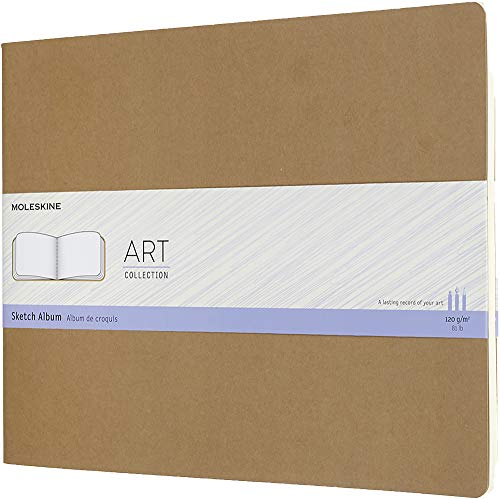 Moleskine Art Cahier Sketch Album, Soft Cover, XXL (8.5' x 11') Plain/Blank, Kraft Brown, 88 Pages