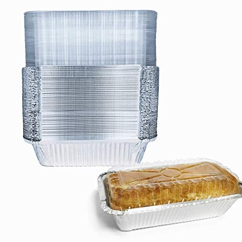 """BBQMFG Disposable Baking Loaf Pan with Lid - 8x4"""" l 1.5 Lb Bread Pans - Mini Loaf Pans – 50 Pans and 50 Clear Lids - Perfect for Baking Cakes, Bread, Meatloaf…"""