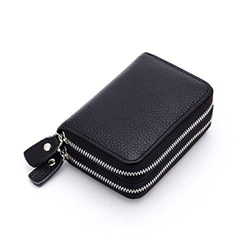 Ailzos Credit Card Wallet,RFID Blocking Leather Credit Card Holder and Double Zipper Credit Card Wallet for Women and Men,Black