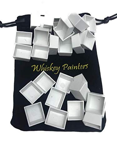 Whiskey Painters Artist Empty Plastic Watercolor Paint Pans Pack of 50 pcs , Refill Cups, Half Pans, Free Refillable Water brush- We are a USA Company!