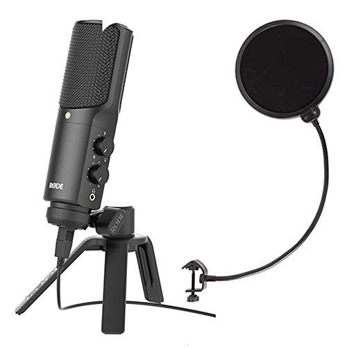Rode NT-USB Recording Podcast USB Condenser Microphone with Axcessables Windpop Universal Pop Filter