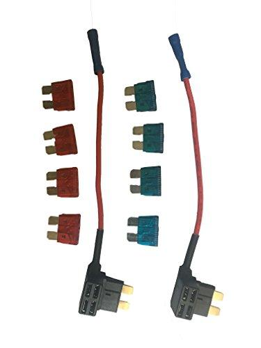 KOLACEN Automotive Car Truck 2 Stück 16 Gauge Add-a-Schaltung Sicherung TAP Adapter für normale Standard Blade Typ Sicherung + 8 Stück Standardsicherung 10Apm 15Apm