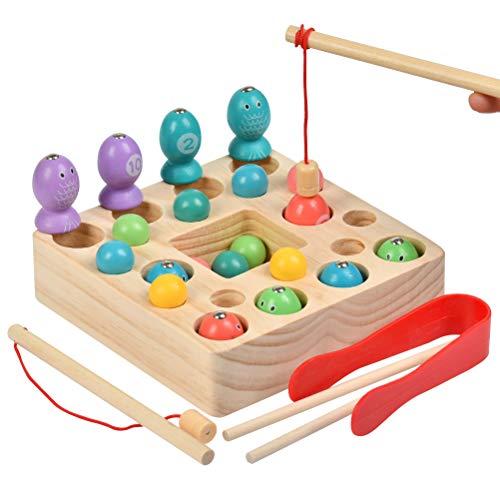 YOTINO Angelspiel Holzspielzeug 2 In 1Angelspiel Montessori Lernspielzeug Montessori Spielzeug Lernspielzeug Magnettafel Kinderspielzeug für Kinder ab 3 Jahre