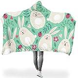 RQPPY Easter Rabbit - Manta de Forro Polar para sofá, poliéster, Blanco, 150 x 200cm