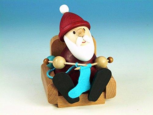 Weihnachtsfigur Weihnachtsmann modern, strickend im Sessel – Holzfigur - Höhe 9 cm - Handarbeit Erzgebirge – NEU