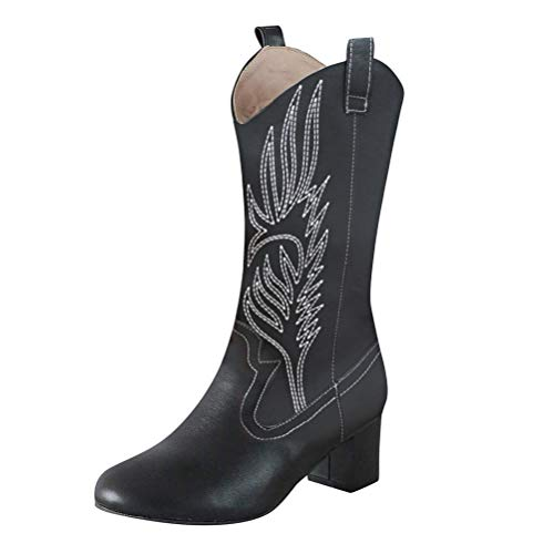 stivali western donna ORANDESIGNE Cowboy Western Scarpe da Donna Stivali Stivaletti Punta Camperos Texani Etnici Nero 38 EU