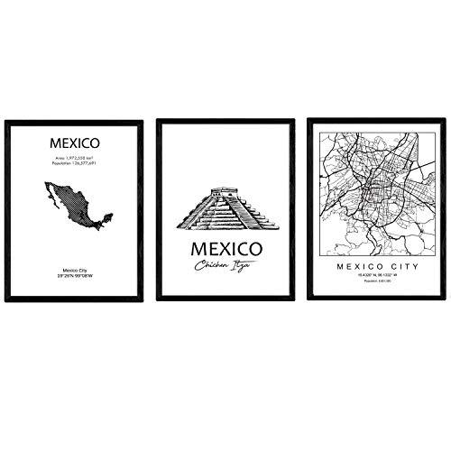 Pak posters en monumentenlanden. Kaart Mexico City Monument Tzitzen Itza Kaart Mejico. A4-formaat