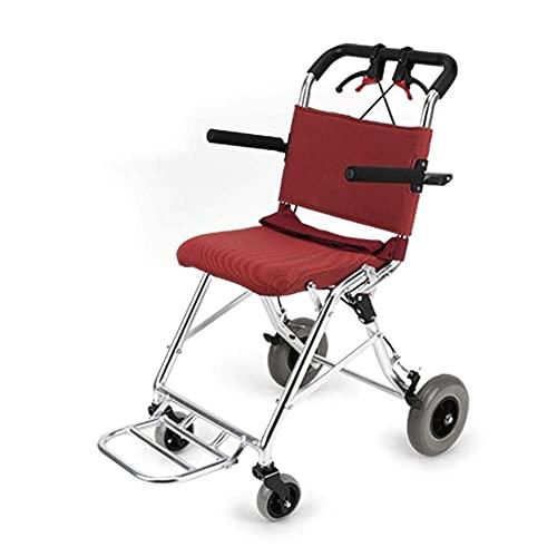 WXDP Autopropulsado Trolley de Viaje portátil superligero Plegable para discapacitados/Ancianos Scooter de aleación de Aluminio con neumáticos, portátil