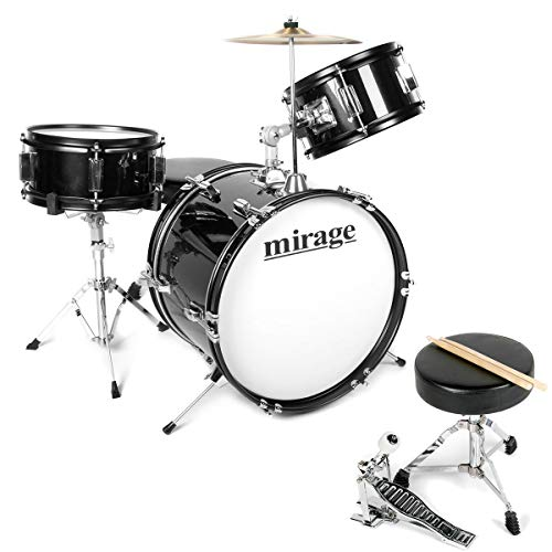 1. Mirage JDK 3 Piece Junior Drum Kit With Stool and Sticks - Black