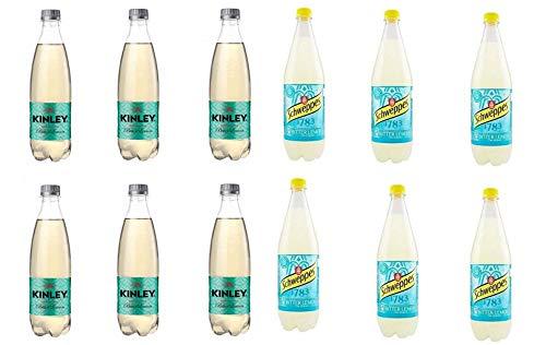Testpaket Bitter Lemon ( 6X SCHWEPPES 1LT ) ( 6X KYNLEY 750ML ) Zitrone Lemonade erfrischend Zitronengeschmack 12 Flaschen